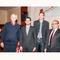 Bundestagskandidat Werner Widuckel, Juso-Landesvorsitzender Tobias Afsali, UB-Vorsitzender Sven John, OV-Vorsitzender Dieter Betz, 2017